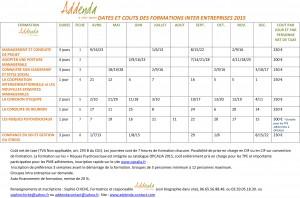 dates et coûts de formation inter entreprises 2015